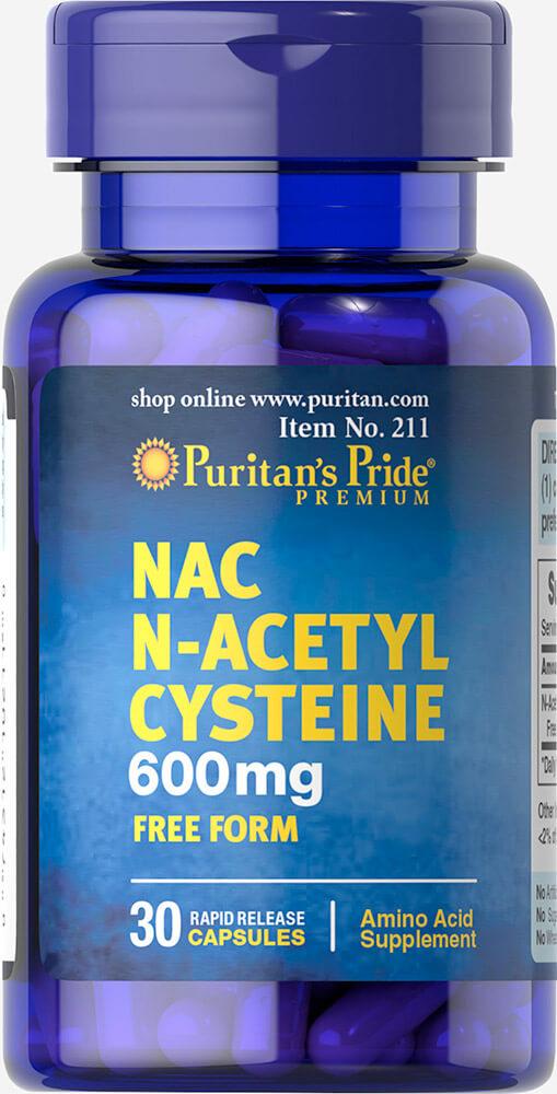 Ацетилцистеин, N-Acetyl Cysteine (NAC), Puritan's Pride, 600 мг, 30 капсул