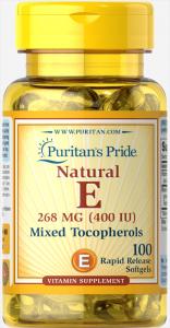 Витамин Е и смесь токоферолов, Vitamin E Mixed Tocopherols, Puritan's Pride, 400 МЕ, 100 капсул