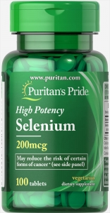 Селен, 200 мкг., Puritan's pride, 100 таблеток