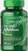 Селен, 200 мкг., Puritan's pride, 250 таблеток