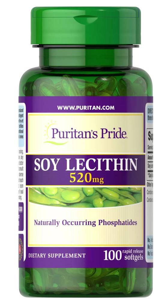 Соевый лецитин, 520 мг., Puritan's pride, 100 капсул