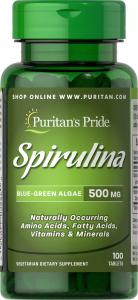 Спирулина, 500 мг., Puritan's pride, 100 таблеток