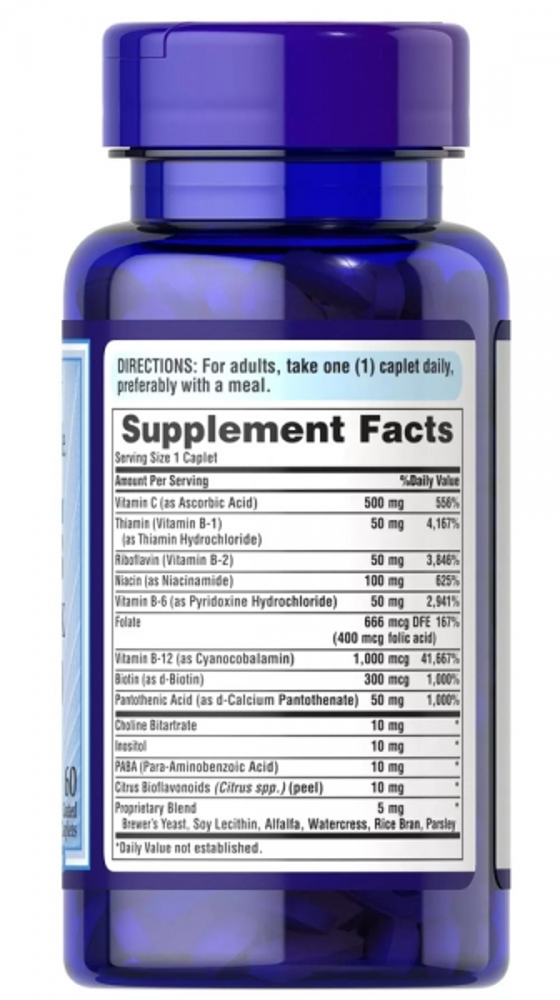 Комплекс витамина В с витамином с-500, антистрес формула, Puritan's pride, 60 таблеток замедленного действия