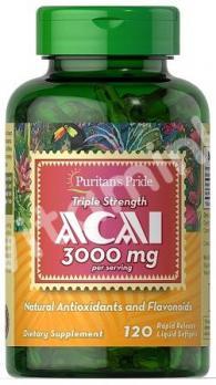 Экстракт ягоды Асаи, тройная сила, 3000 мг., Puritan's pride, 120 капсул