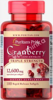 Экстракт ягод клюквы, 12600 мг, Puritan's pride, 100 капсул