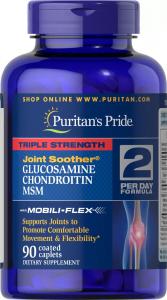 Глюкозамин, хондроитин с МСМ, тройная сила, Puritan's pride