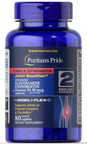 Глюкозамин, хондроитин с витамином D3, тройная сила, Puritan's pride