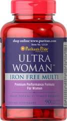 Комплекс витаминов и минералов без железа для женщин Ultra Women, Puritan's pride, 90 капсул