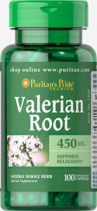 Корень валерианы, 450 мг., Puritan's pride, 100 капсул