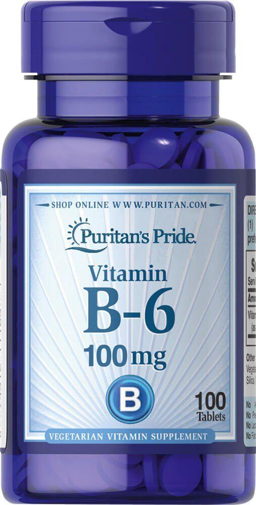 Витамин В-6, 100 мг., Puritan's pride, 100 таблеток