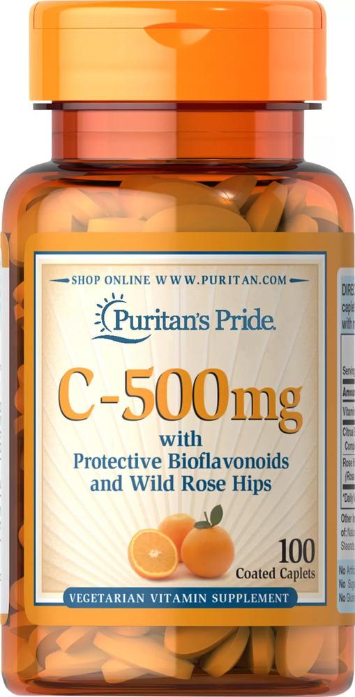 Витамин С 500 мг. с биофлавоноидами и шиповником, Puritan's pride