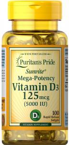 Витамин D-3, 125 мкг., 5000 МЕ, Puritan's pride
