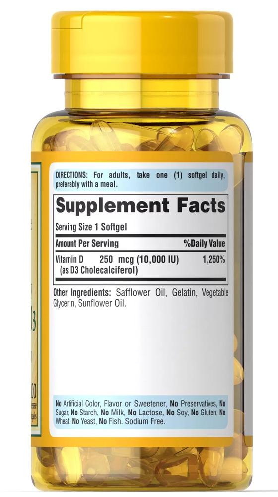 Витамин D-3, 250 мкг., (10 000 МЕ), Puritan's pride