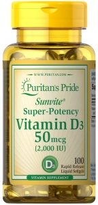 Витамин D-3, 50 мкг.,(2000 МЕ), Puritan's pride, 100 капсул