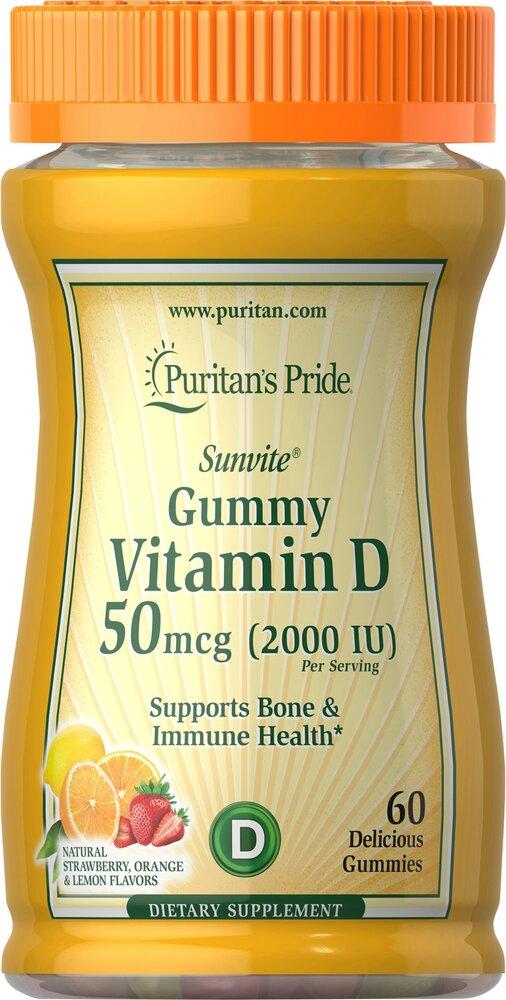 Витамин D-3, 2000 МЕ, Puritan's pride, 60 желатиновых конфет
