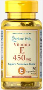 Витамин Е, 450 мг., 1000 МЕ, Puritan's pride, 50 капсул