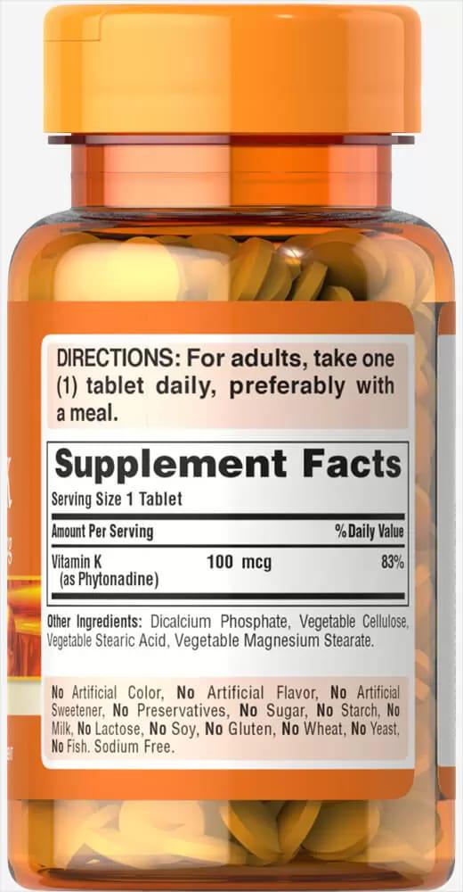 Витамин К, 100 мкг., Puritan's pride, 100 таблеток