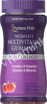 Комплекс витаминов для женщин с коллагеном, Puritan's pride, 50 желатиновых конфет
