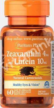 Зеаксантин 4 мг. с лютеином 10 мг.,  Puritan's pride, 60 капсул