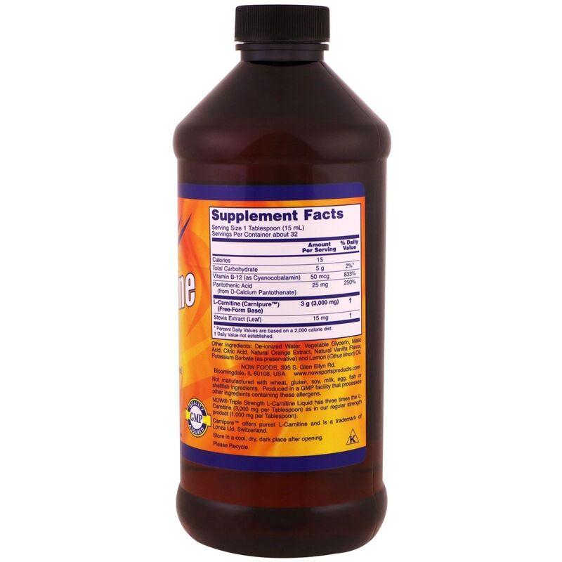 Л карнитин жидкий, L-Carnitine, Now Foods, Sports, 3000 мг, (473 мл)