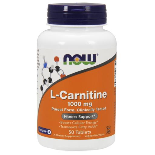 Л Карнитин, L-Carnitine, Now Foods, 1000 мг, 50 таблеток