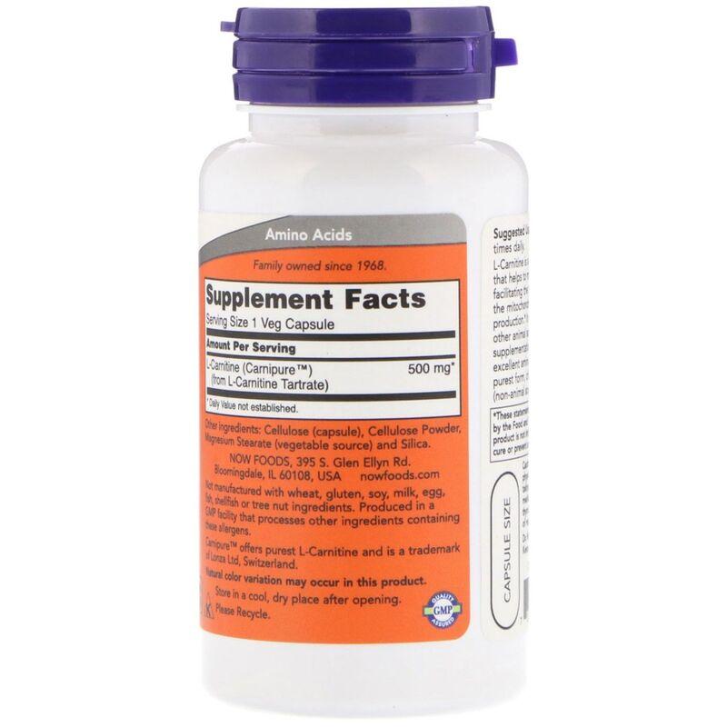 Карнитин тартрат, L-Carnitine, Now Foods, 500 мг