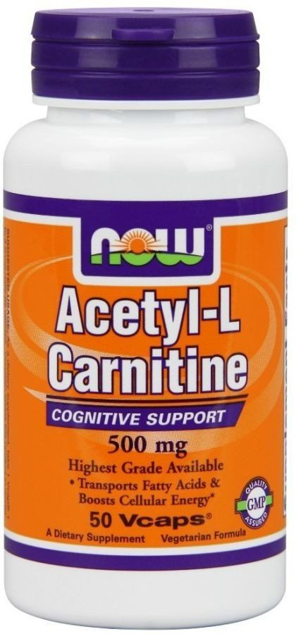 Ацетил карнитин, Acetyl-L Carnitine, Now Foods, 500 мг.