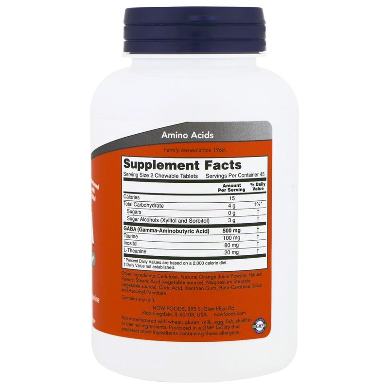 ГАМК, Гамма-аминомасляная кислота, GABA, Now Foods, апельсин, 90 таблеток