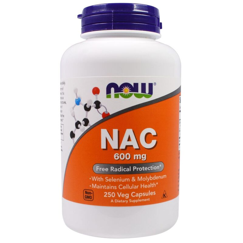 Ацетилцистеин, NAC (N-Acetyl Cysteine), Now Foods, 600 мг.