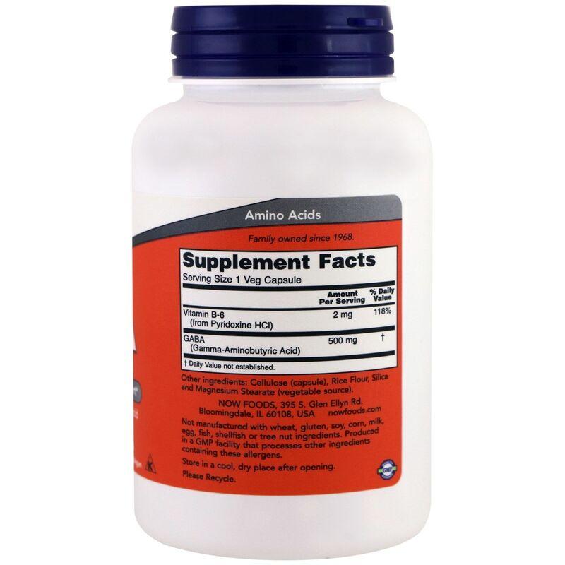Гамма-аминомасляная кислота (GABA), Now Foods, 500 мг