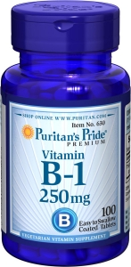 Витамин В1, Vitamin B-1, Puritan's Pride, 250 мг, 100 таблеток
