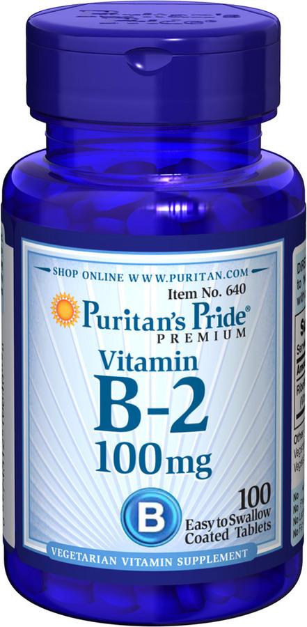 Витамин В-2, Vitamin B-2 (Riboflavin), Puritan's Pride, 100 мг, 100 таблеток