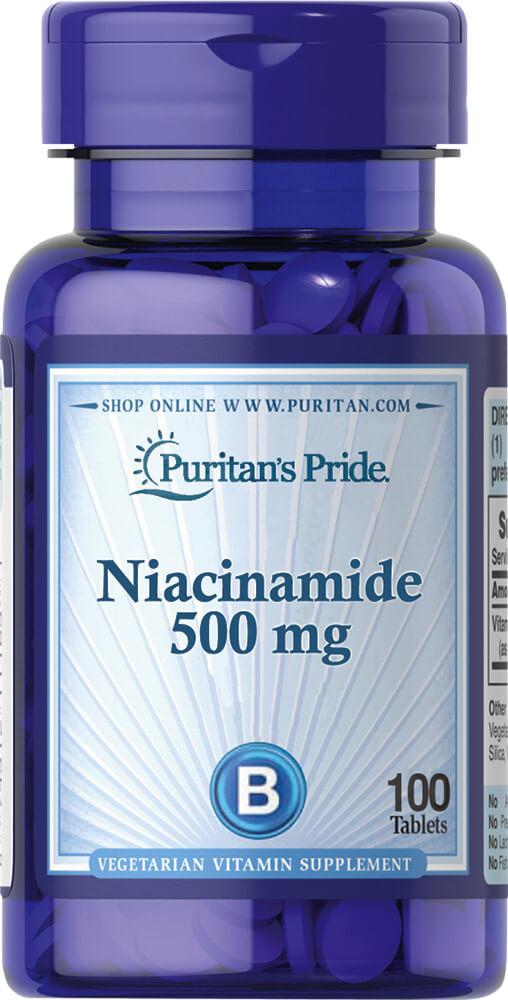 Ниацинамид, Niacinamide, Puritan's Pride, 500 мг, 100 таблеток