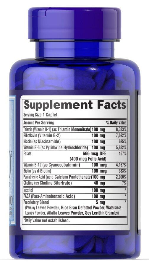Витамины группы В, комплекс, Vitamin B-100, Puritan's Pride,100 капсул
