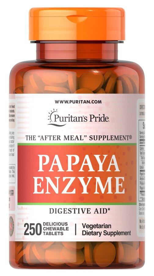 Пищеварительные ферменты папаин, Papaya Enzyme, Puritan's Pride, ягоды, 250 жевательных таблеток