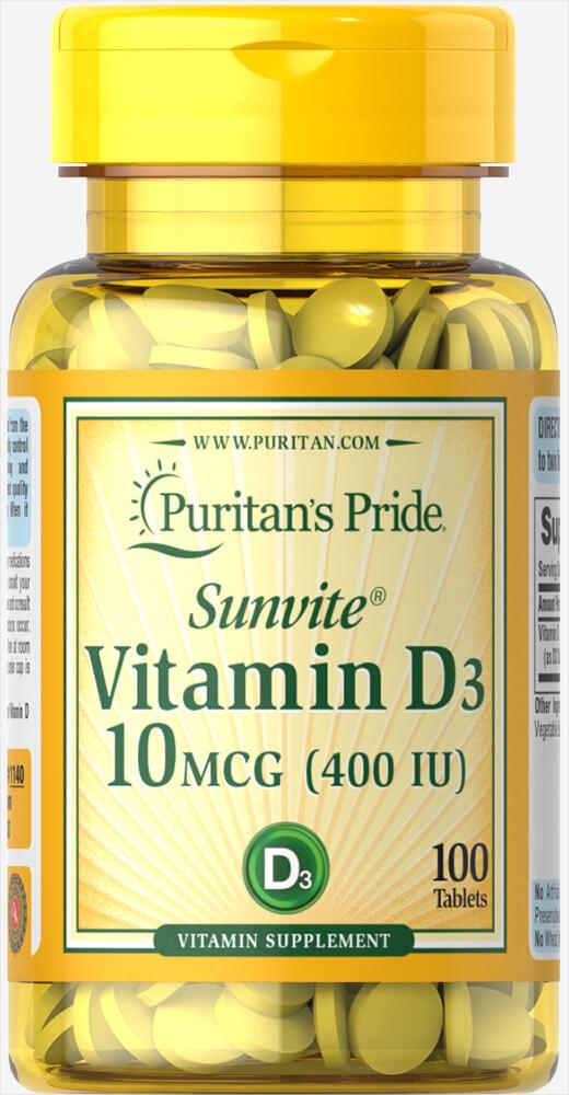 Витамин Д3, Vitamin D3, Puritan's Pride, 400 МЕ, 100 таблеток