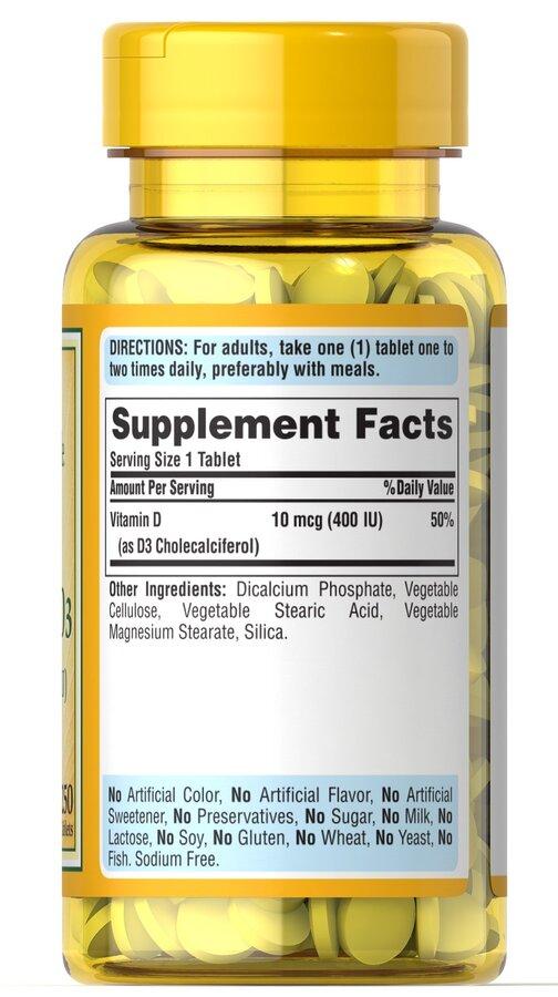 Витамин Д3, Vitamin D3, Puritan's Pride, 400 МЕ