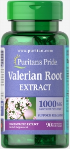 Валериана корень, Valerian Root, Puritan's Pride, 1000 мг, 90 гелевых капсул