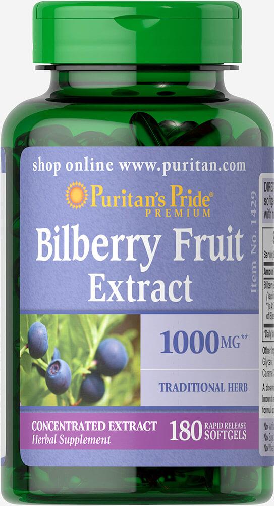 Черника, Bilberry, Puritan's Pride, 180 капсул