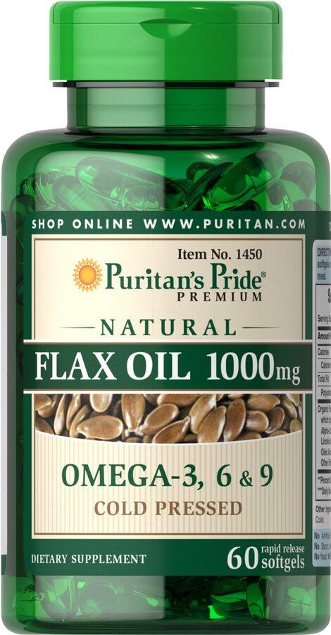 Льняное масло, Natural Flax Oil, Puritan's Pride, без ГМО, 1000 мг, 60 капсул