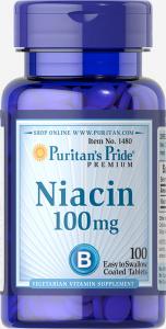 Ниацин, Niacin, Puritan's Pride, 100 мг, 100 таблеток