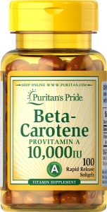Бета каротин, Beta-Carotene, Puritan's Pride, 10,000 МЕ, 100 гелевых капсул