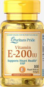 Витамин Е-200, Vitamin E, Puritan's Pride, 200 МЕ, 100 гелевых капсул