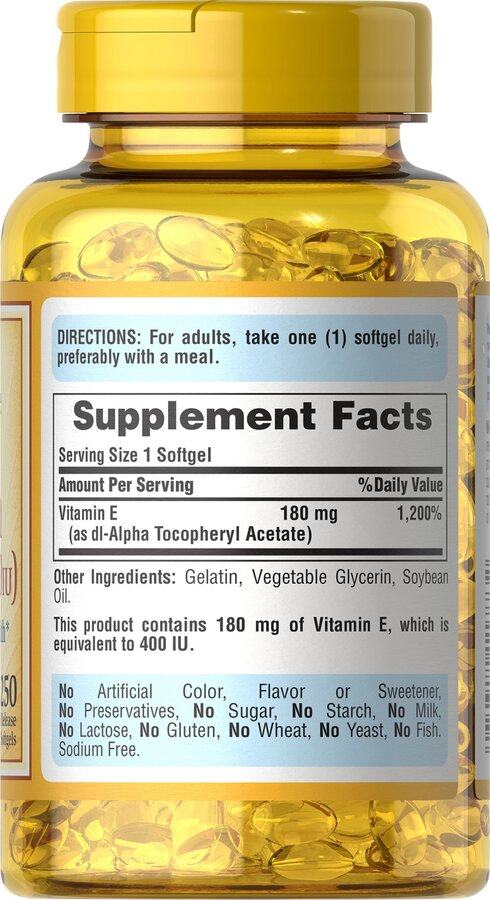 Витамин Е, Vitamin E, Puritan's Pride, 400 МЕ, 250 гелевых капсул