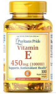 Витамин Е, Vitamin E, Puritan's Pride, 1000 МЕ, 100 капсул