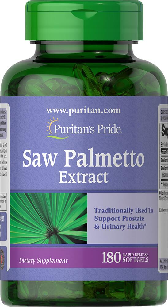 Со пальметто, Saw Palmetto, Puritan's Pride, экстракт, 180 гелевых капсул