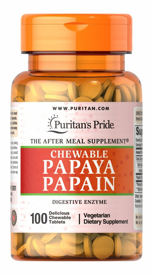 Пищеварительные ферменты папаин, Papaya Papain, Puritan's Pride, 100 жевательных таблеток