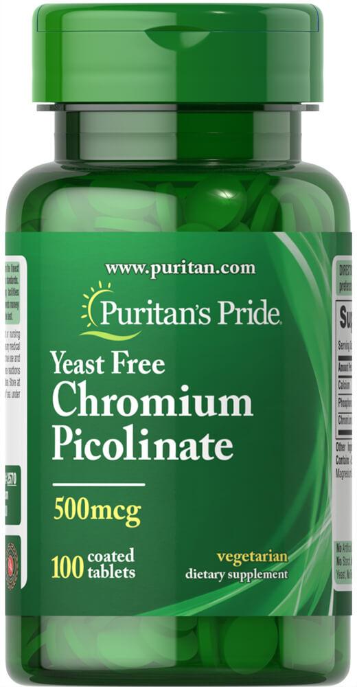 Пиколинат хрома, Chromium Picolinate, Puritan's Pride, 500 мкг, 100 табл