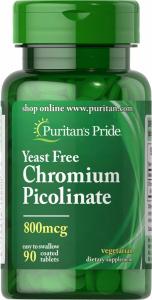 Хром пиколинат, Chromium Picolinate, Puritan's Pride, без дрожжей, 800 мкг, 90 таблеток