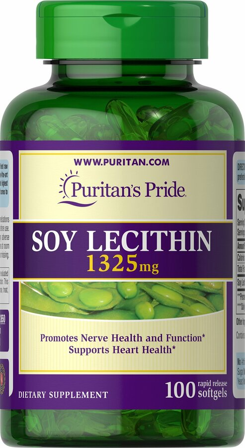 Лецитин из сои, Soy Lecithin, Puritan's Pride, 1325 мг